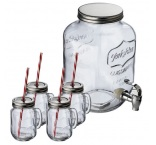 P1044366 - Set drink dispenser & 4 drinking glasses Acapulco